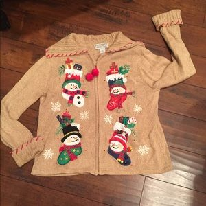 vINTAGE Holiday Ugly Christmas Sweater Cardigan L